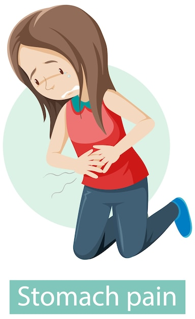 Personnage De Dessin Animé Avec Des Symptômes De Douleurs à L'estomac Vecteur gratuit