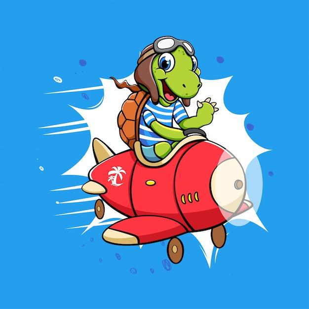 Personnage de dessin animé de tortue dans un avion Vecteur Premium