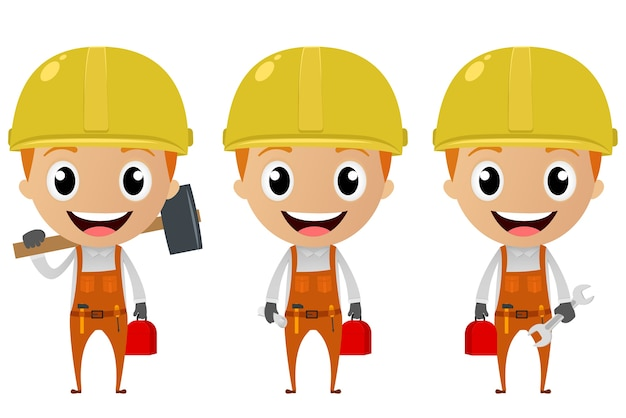 Personnage de dessin animé de travailleur de construction Vecteur Premium