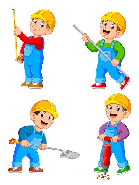 Personnage de dessin animé de travailleurs de la construction dans diverses actions Vecteur Premium