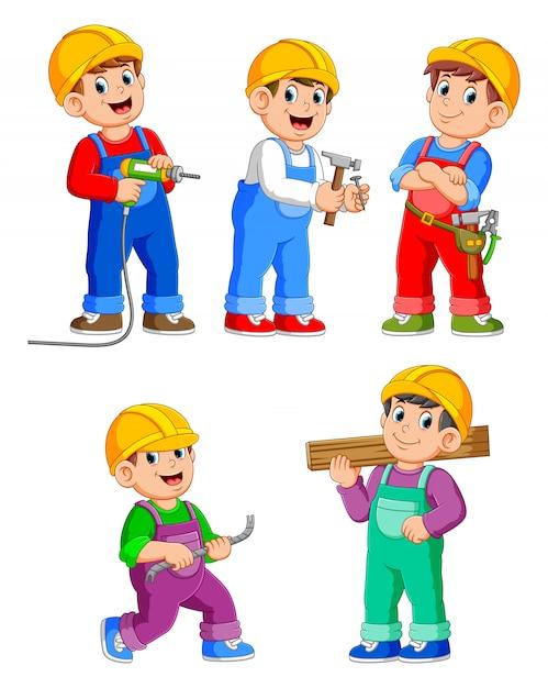 Personnage de dessin animé de travailleurs de la construction Vecteur Premium