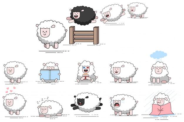 Personnage de dessin animé de vecteur de mouton drôle mignon. ensemble d'icônes d'agneaux de ferme plate isolé sur fond blanc. Vecteur Premium