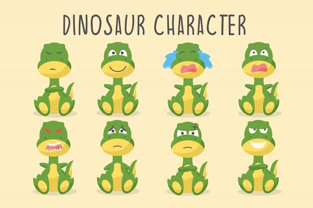 Personnage de dinosaure mignon dans diverses émotions Vecteur Premium