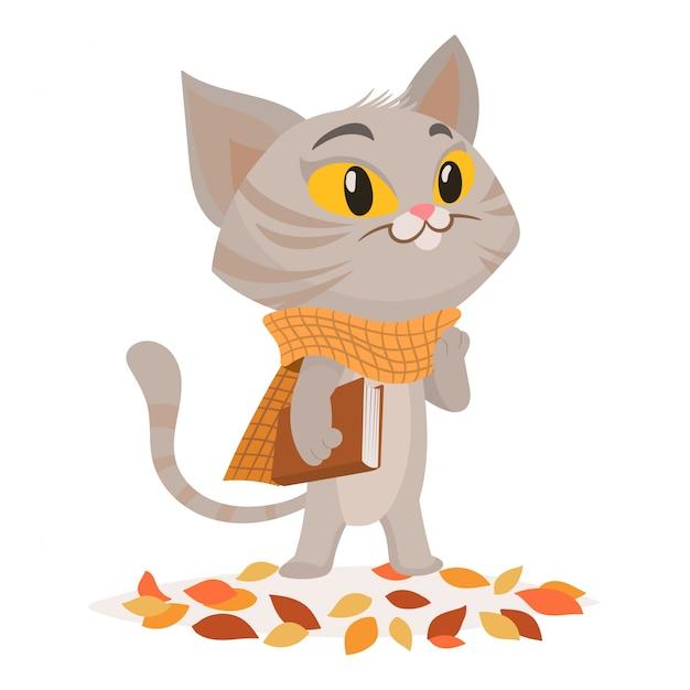 Personnage drôle de chat avec livre Vecteur Premium
