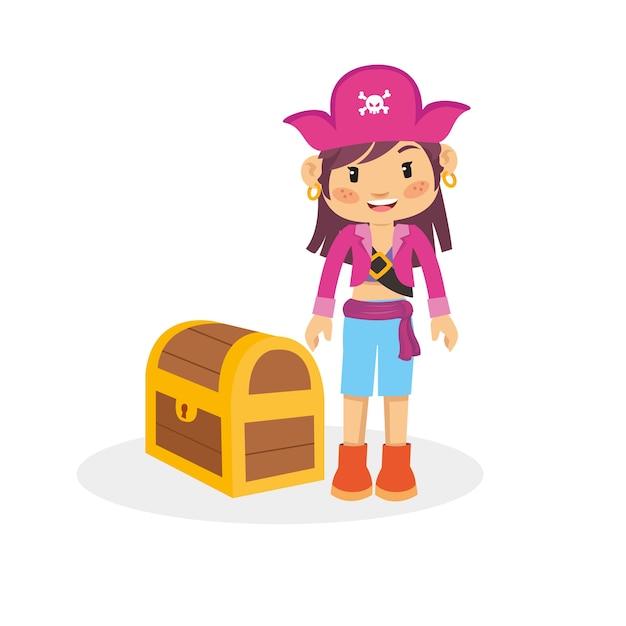 Personnage Drôle De Fille Pirate Vecteur Premium