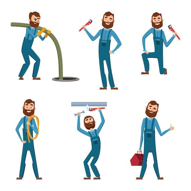 Personnage drôle de réparateur ou plombier dans des poses différentes Vecteur Premium