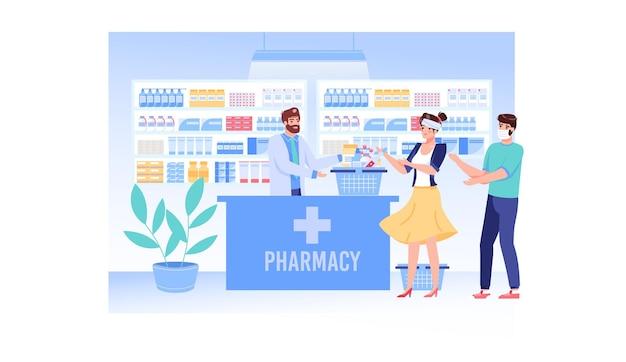 Le Personnage Du Pharmacien Vend Des Médicaments Aux Personnes Atteintes D'une Infection Virale Vecteur Premium