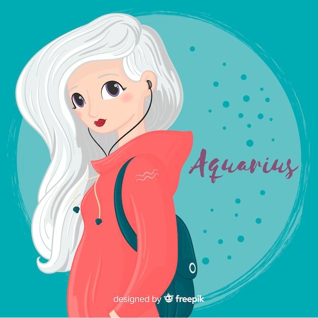 Personnage du zodiaque féminin dessiné à la main Vecteur gratuit