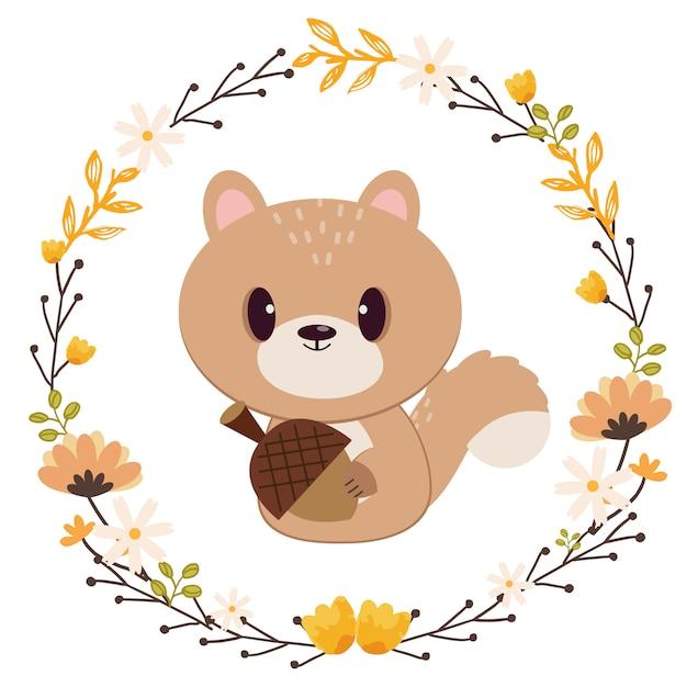 Le personnage d'un écureuil mignon tenant la graine de chêne dans l'anneau de la fleur. Vecteur Premium