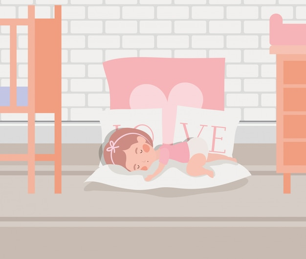 Personnage endormi de petite fille Vecteur gratuit