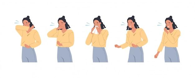 Personnage Féminin éternuant Et Toussant Bien Et Mal. Femme, Tousser, Bras, Coude, Tissu Prévention Contre Les Virus Et Les Infections. Illustration Vectorielle Dans Un Style Plat Vecteur Premium