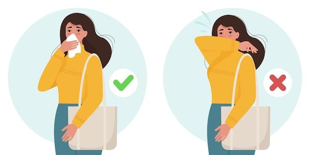 Personnage Féminin éternuant Et Toussant Bien Et Mal. La Prévention Des Virus Se Propage. Illustration Dans Un Style Plat Vecteur Premium