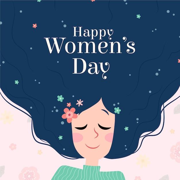 Personnage Féminin De La Journée Des Femmes Ayant Des Fleurs Dans Les Cheveux Vecteur gratuit