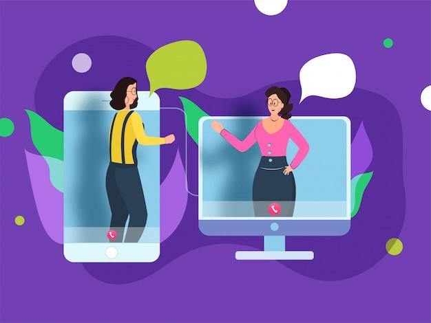 Personnage féminin parlant ensemble d'un gadget Vecteur Premium