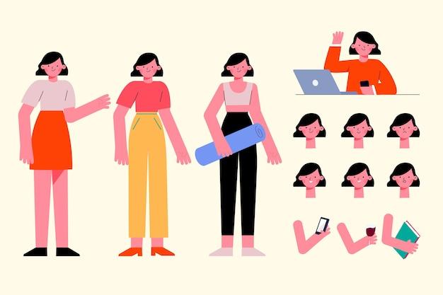 Personnage Féminin Pose Un Design Plat Vecteur gratuit