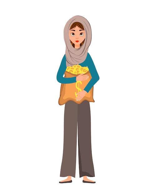 Personnage de femme dans une écharpe avec un sac d'argent sur blanc. Vecteur Premium