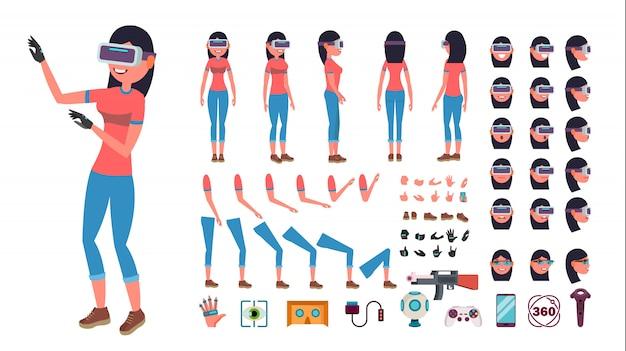Personnage De Femme Dans La Réalité Virtuelle. Vecteur Premium