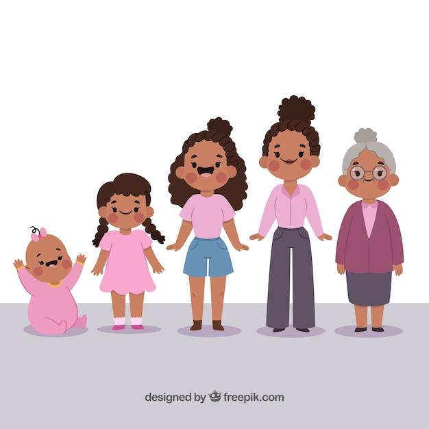 Personnage de femme noire à différents âges Vecteur gratuit