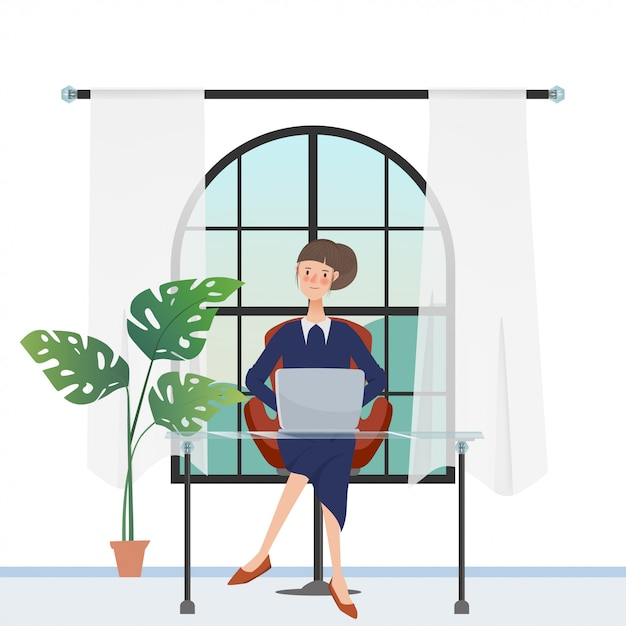 Personnage de femme en pigiste travaillant avec un ordinateur portable près de la fenêtre. Vecteur Premium