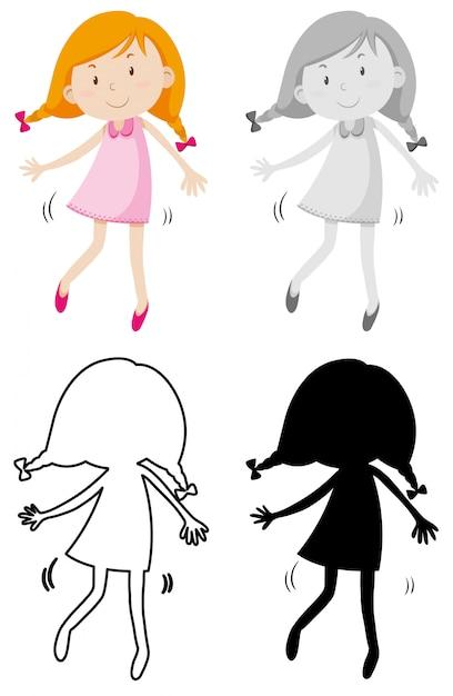 Un personnage de fille simple Vecteur gratuit