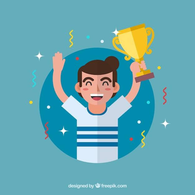 Personnage gagnant gagnant avec un design plat Vecteur gratuit