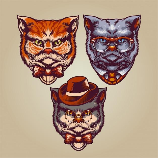 Personnage Gentleman Cats Vecteur Premium