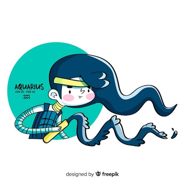 Personnage de guerrier aquarius dessiné à la main Vecteur gratuit