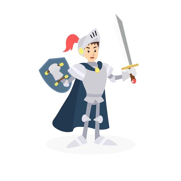 Personnage guerrier avec épée et bouclier. Vecteur Premium