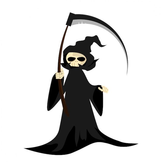 Personnage d'halloween avec la faucheuse avec faux. Vecteur Premium