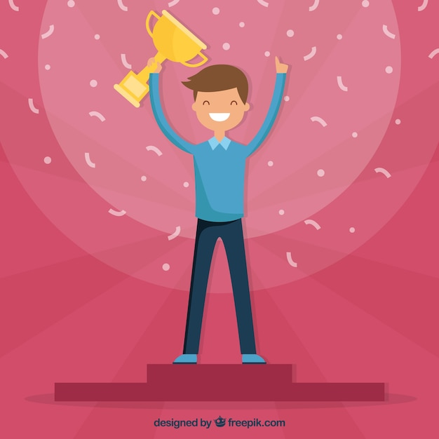 Personnage heureux gagnant un prix avec un design plat Vecteur gratuit