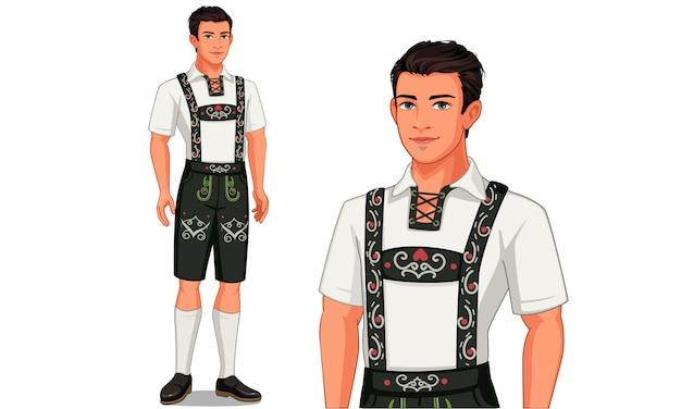Personnage de l'homme allemand en costume traditionnel Vecteur Premium