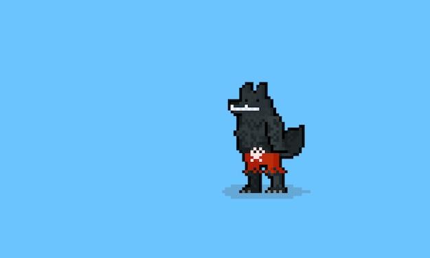 Personnage De Loup Garou Pixel Art Portant Un Pantalon Rouge