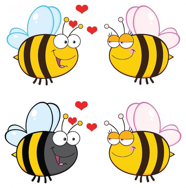 Personnage mascotte abeille Vecteur Premium