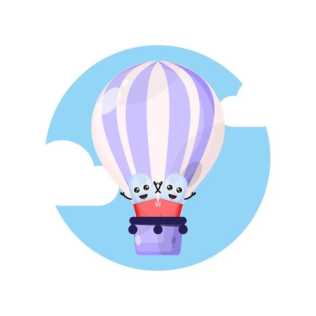 Personnage De Mascotte De Pilules De Capsule De Ballon à Air Vecteur Premium