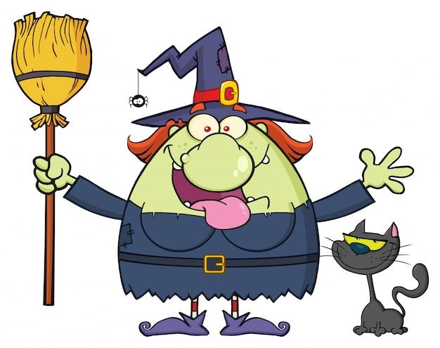Personnage mascotte sorcière heureuse tenant un balai Vecteur Premium