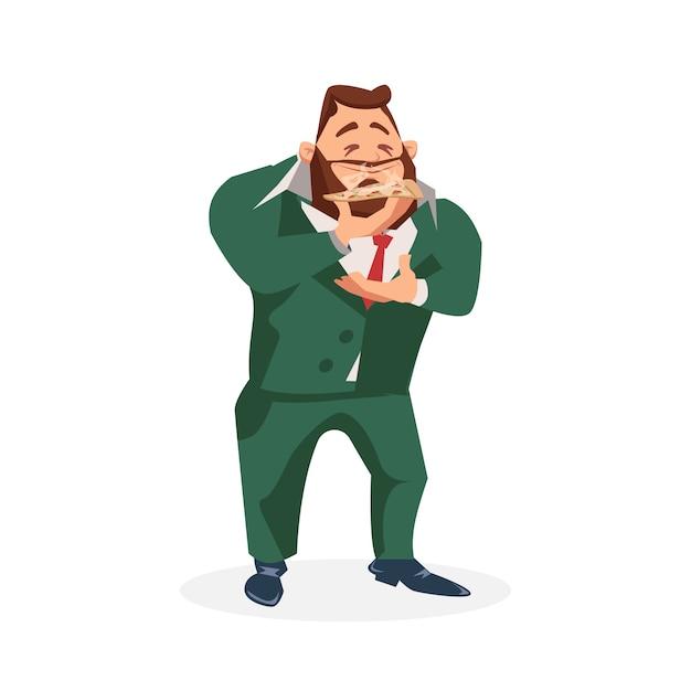 Personnage Masculin En Costume Odeur Tranche De Pizza Savoureuse Vecteur Premium