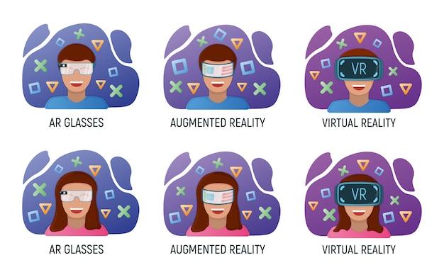 Personnage Masculin Et Féminin Dans Des Lunettes De Réalité Virtuelle, Technologie Moderne Réalité Augmentée Isolée Vecteur Premium
