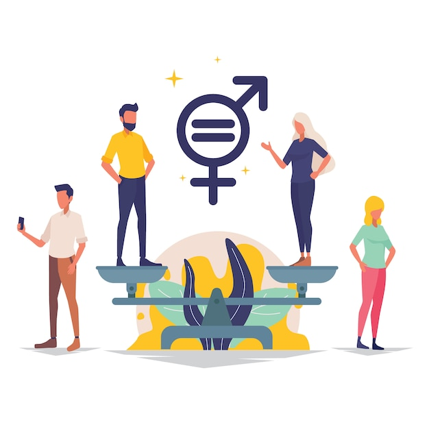 Personnage Masculin Et Féminin Sur Les échelles Pour L'illustration De L'égalité Des Sexes Vecteur Premium