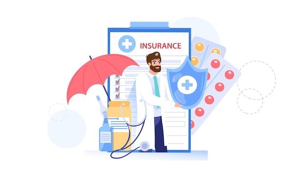 Le Personnage De Médecin De Style Plat De Dessin Animé Offre Une Illustration D'assurance Maladie Vecteur Premium