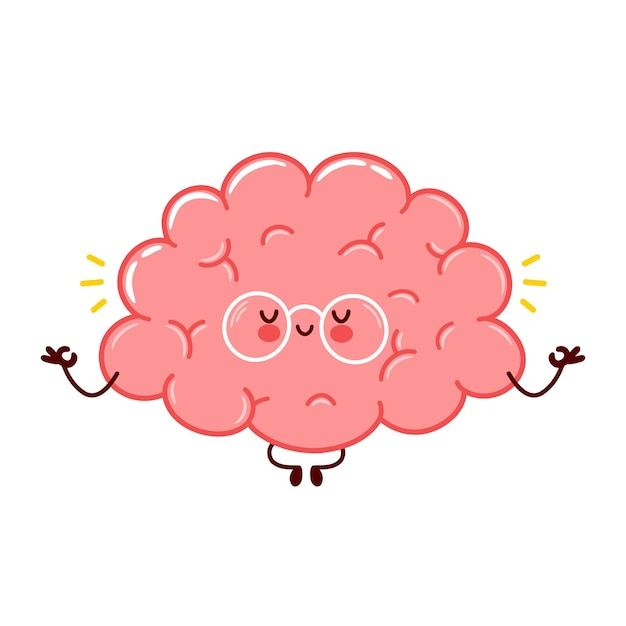 Personnage De Méditation Mignon Drôle D'organe Du Cerveau Humain Vecteur Premium