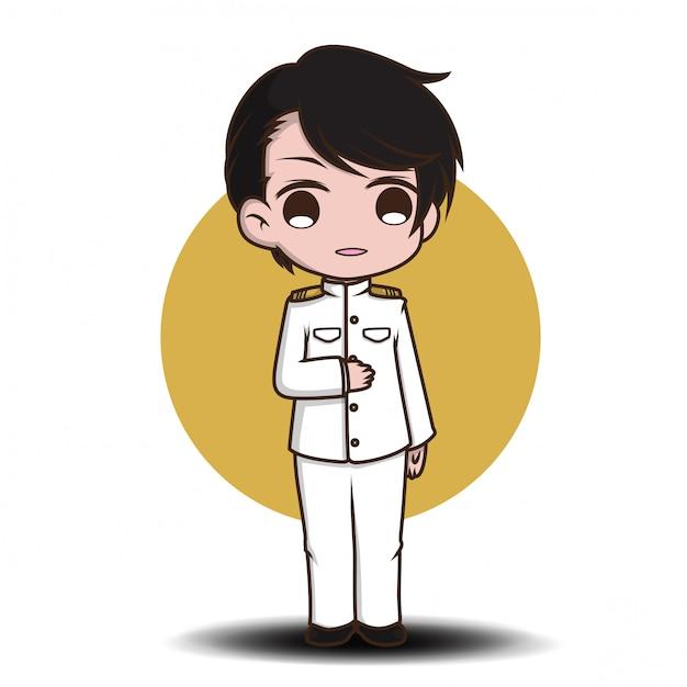 Personnage mignon de bande dessinée du gouvernement. costume blanc. Vecteur Premium