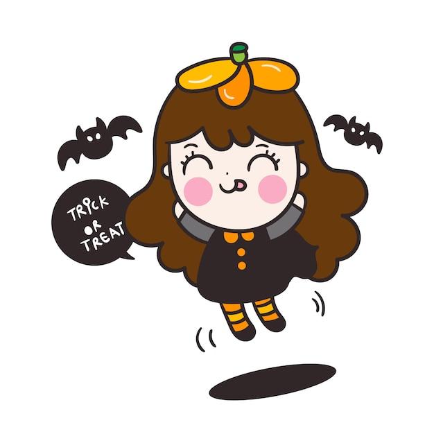 Personnage mignon de bébé fille halloween avec dessin animé de chauve-souris Vecteur Premium