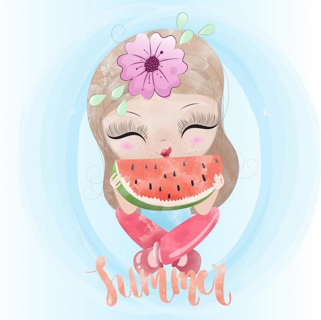 Personnage mignon bébé fille et melon d'eau peint aquarelle prime vecteur Vecteur Premium