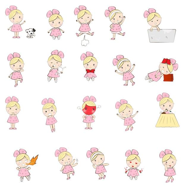 Personnage mignon de fille dessin animé de nombreuses émotions et actions Vecteur Premium