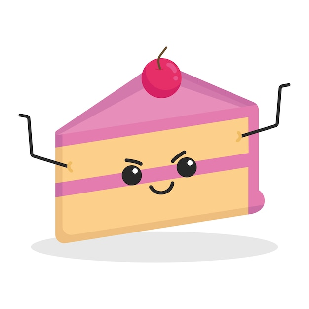 Personnage mignon kawaii de gâteau Vecteur Premium
