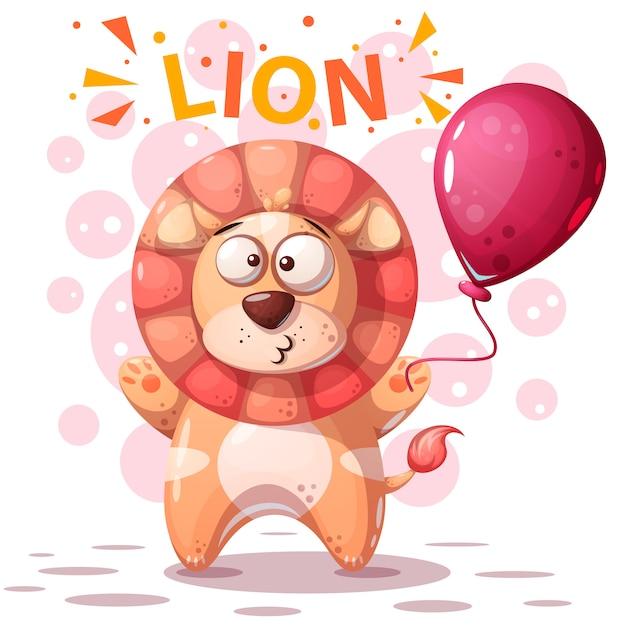 Personnage mignon de lion - illustration de dessin animé. Vecteur Premium