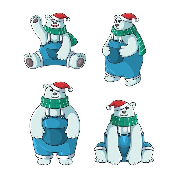Personnage Mignon Ours Polaire Avec Chapeau De Noël Vecteur Premium