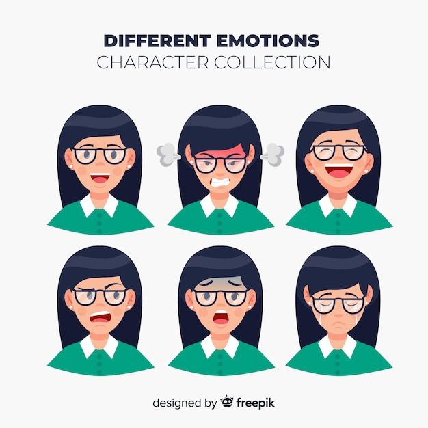 Personnage montrant une collection d'émotions Vecteur gratuit