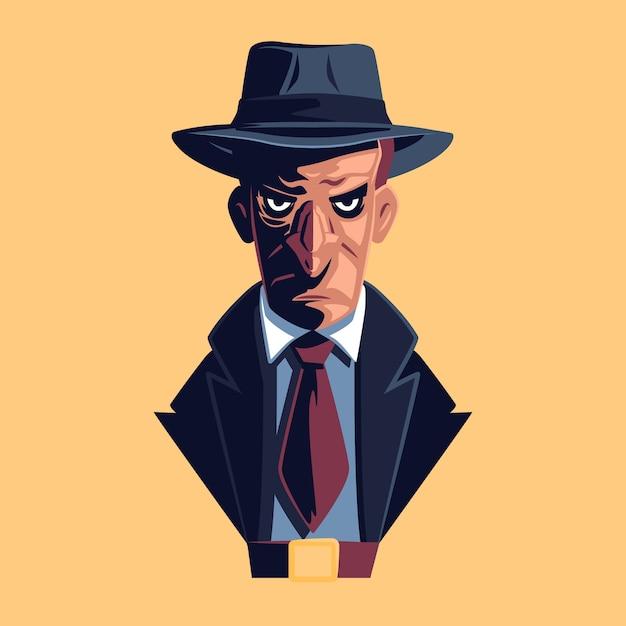 Personnage Mystérieux De La Mafia Vecteur gratuit