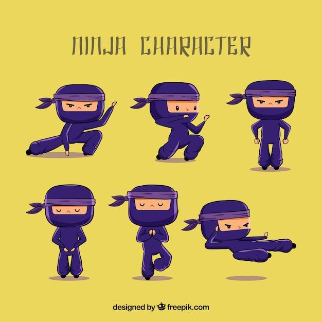 Personnage Ninja Dessiné Dans Différentes Poses Vecteur gratuit